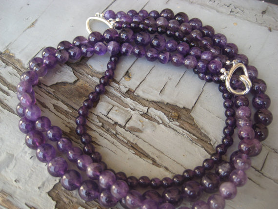 purple birthstone necklace
