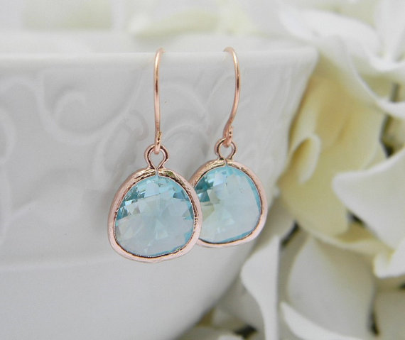 rose gold aquamarine earrings