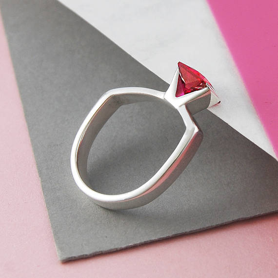 geometric ruby ring