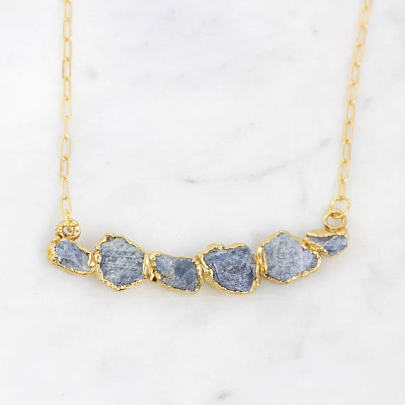sapphire necklace with gold