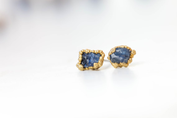 raw sapphire and gold studs
